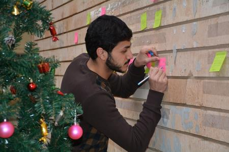 The university students  congratulate their Christian brothers with the annual celebration of Christ's birth