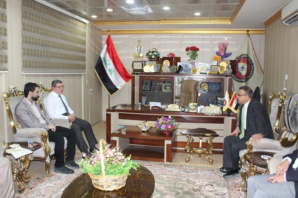 "President of the University meets with the visiting professor from ""King Hussein Cancer Center"""