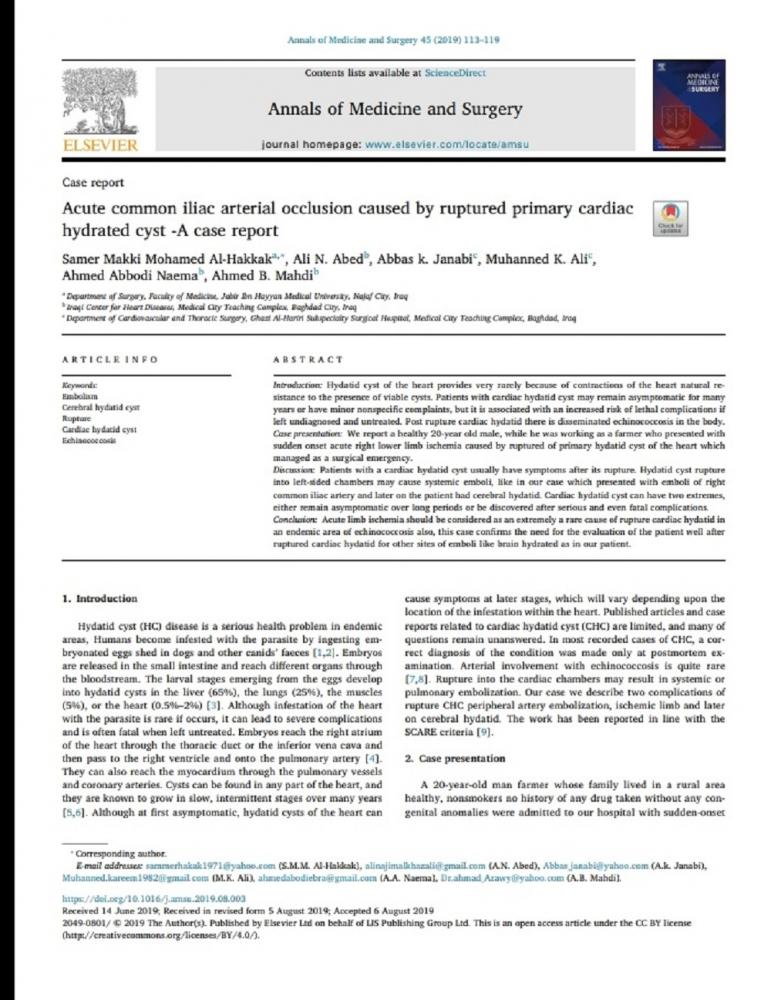 """The lecturer at Faculty of Medicine Dr. Samer Makki Mohamed Al-Hakkak publishes research titled """"Acute common iliac arterial occlusion caused by ruptured primary cardiac hydrated cyst-A case report"""" in the American Journal  """"Annals of Medicine and Surgery"""