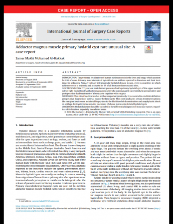 """Dr.Samer Makki Mohamed Al-Hakkak, the lecturer at Faculty of Medicine, publishes research titled """"Adductor magnus muscle primary hydatid cyst rare unusual site: A case report"""" in a British Journal"""