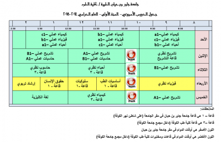 Schedule of Weekly Lectures - First Year