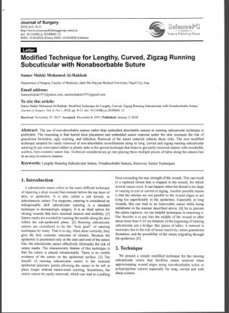 """Dr. Samer Makki Mohamed Al-Hakkak, the lecturer at the Faculty of Medicine, Publishes research titled """"Modified Technique for Lengthy, Curved, Zigzag Running Subcuticular with Nonabsorbable Suture"""", in the American Journal """"Journal of Surge"""