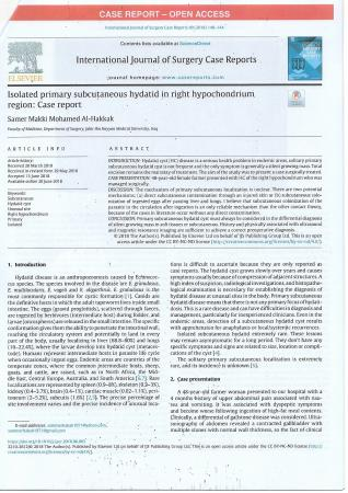 """Dr.Samer Makki Mohamed Al-Hakkak, the lecturer at Faculty of Medicine, publishes research titled """"Isolated primary subcutaneous hydatid in right hypochondrium region :case  report"""